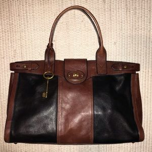 Fossil VRI Weekender Tote Large Leather Handbag